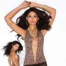 Leopard Print Mini Dress w/ Lace Skirt - One Size