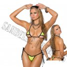 2pc Black Lycra Bikini Top & Matching G-String w/ Black Trim - One Size