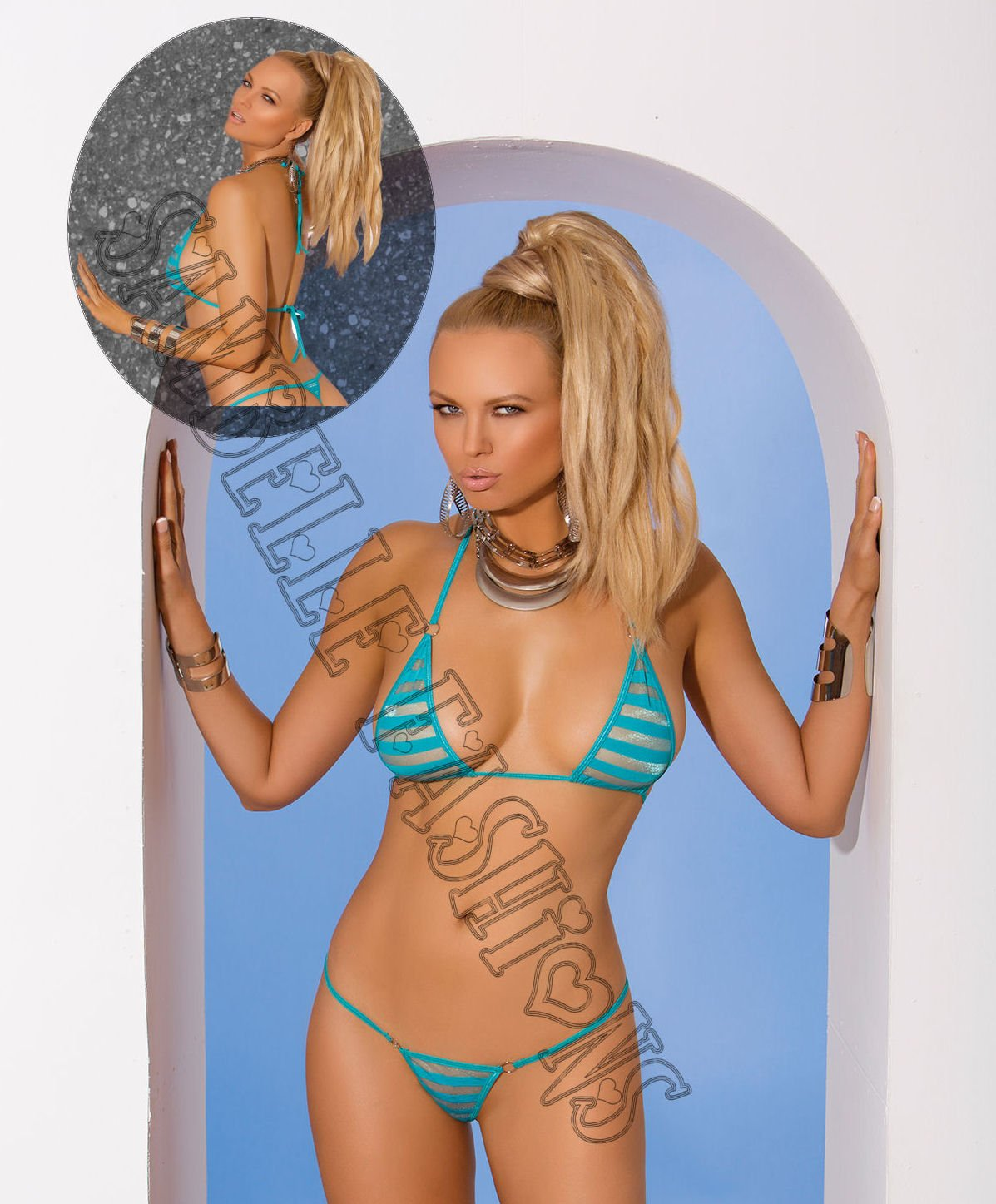 2pc Turquoise Striped Mesh Bikini Top & Matching G-String - One Size