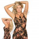 2pc - Floral Print Lace Babydoll w/ Satin Bow & Matching G-String - 1X