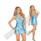 2pc - Aqua Blue Lace & Charmeuse Halter Neck Babydoll & Matching G-String - Medium