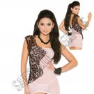 2pc - Baby Pink Mesh One Shoulder Babydoll w/ Lace Insert & Matching G-String - Small