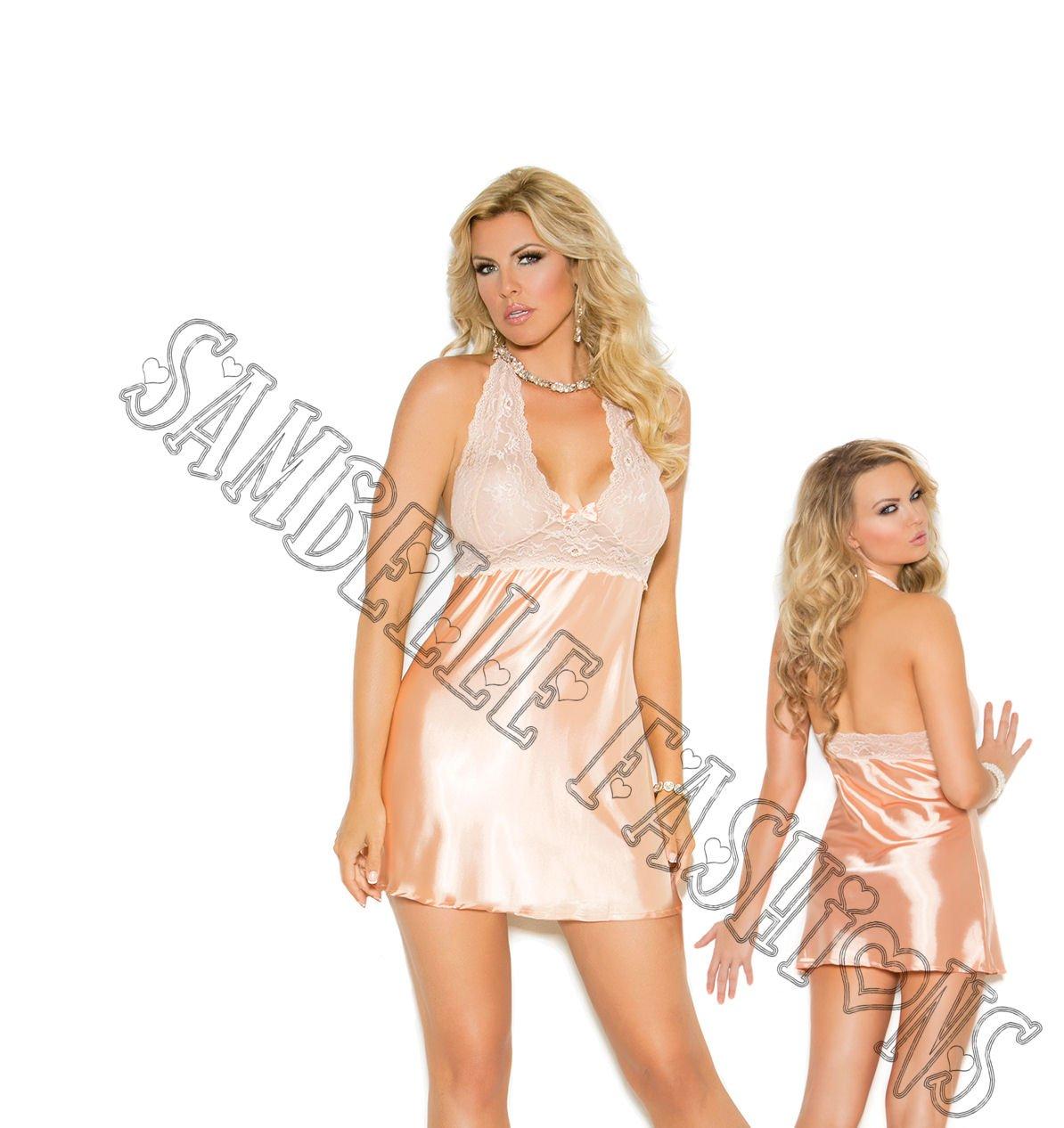 52836c068c1 2pc Peach Lace   Charmeuse Halter Neck Babydoll   G-String - 1X