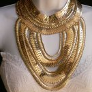 """NEW WOMEN SUMMER WIDE MULTI STRAND GOLD LINKS CHAINS CHUNKY METAL NECKLACE 12"""""""