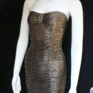 NEW WOMEN GOLD BLACK SEXY FASHION HOT MINI COCKTAIL TUBE DRESS STRAPLESS XS / S