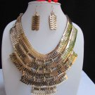 "NEW WOMEN SUMMER WIDE MULTI STRAND GOLD LINKS CHAINS BIG METAL NECKLACE 12"" DROP"