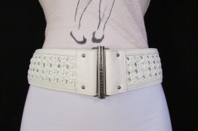 New Armani Exchange Women Wide White Faux Leather Fashion ...