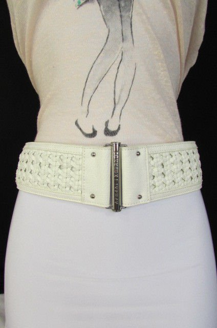 A New Armani Exchange Women Wide White Faux Leather ...
