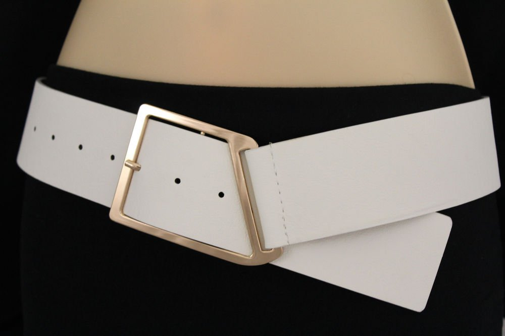 new fashion belt white wide faux leather gold metal