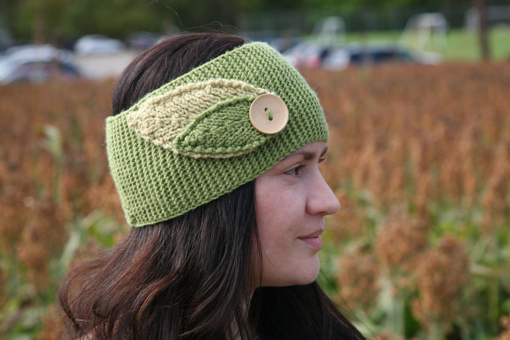 Reversible Leaf Knitting Pattern : Knitting Pattern Cowl neck warmer or headband with leaves ...