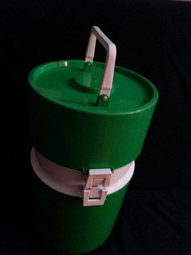 Vintage GREEN Plastic Retro Mod INGRID Picnic Hamper Cooler Basket Dishes All in