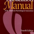 Publication Manual American Psychological Assoc. 4th Ed