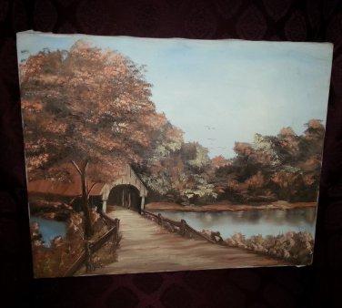 1979 Original Canvas Landscape Painting Art Autumn by Gayle Hendrickson 12X16Vtg