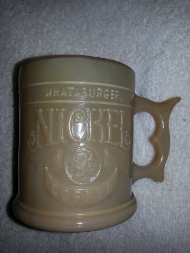 Whataburger Vintage Coffee Mug Caramel Slag Glass Buffalo nickel 1980s