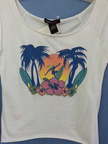Metro Girl Sport White Summer Tank Top Blouse Shirt Surfer 100%Cotton Size-S NWT