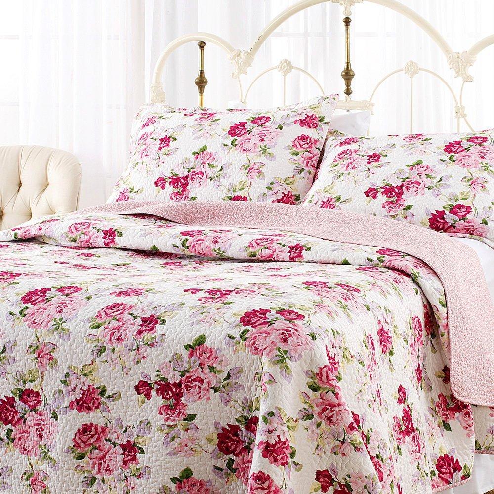 Laura Ashley Lidia Cotton Quilt Set Full Queen Rose Print