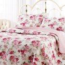 Laura Ashley Lidia Cotton Quilt Set, Full/Queen Rose Print