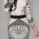Sexy Scoop Neck Long Sleeve Geometric Bodycon Backless Dress For Women
