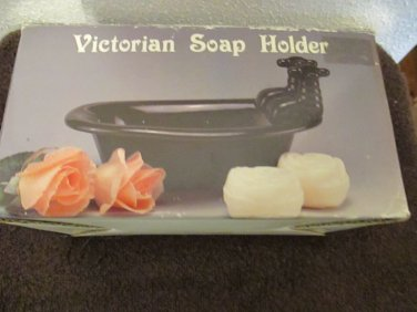 Black Ceramic Victorian Style Bathtub Soap Holder