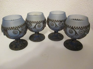 Frosted Blue Glass with metal wrap cordial glasses