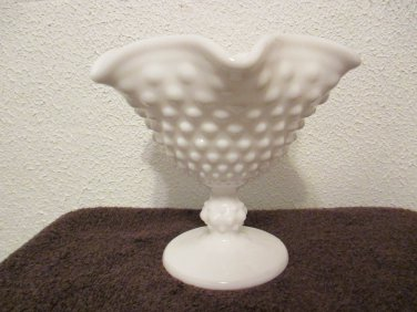 Imperial Milk Glass Fluted Hobnail Pedestal Candy Dish