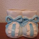 Blue and White Ceramic Baby Shoe Planter