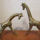 Vintage Brass Giraffe Figurines pair
