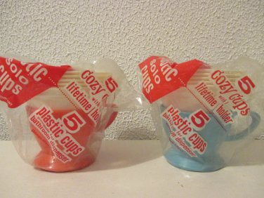 Vintage Solo Cups Holder and cups set of 2 Turquoise and Orange