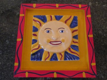 Chesepeake East Handmade Ceramics Sun Tile in Frame