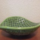 Green with black basket weave candy dish
