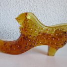Vintage Fenton Amber glass hobnail cats head shoe