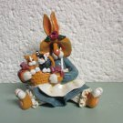 Enesco Momma Bunny holding kittens in a basket figurine Donna Little