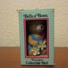 Vintage Bells n Bows Porcelain Collectible Bell  Bear Ornament