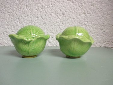 Ceramic cabbage salt and pepper shakers