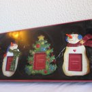 Set of 3 St Nicholas Square Ornament frames 2 snowmen and a tree