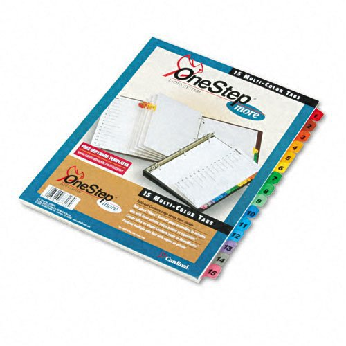Cardinal TOPS OneStep More Fold-Out Index System, 15-Tab, Numbered, Multi-Color, 1 Set (67318)