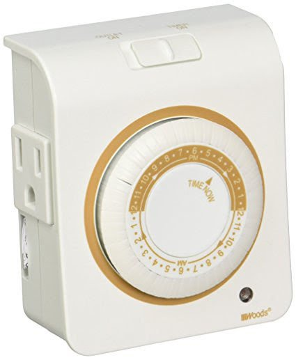 Coleman Cable 50021 Indoor Mechanical Timer With Nightlight, 24 Hour, White