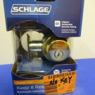 SCHLAGE LOCK CO B60NV505 Single Cylinder Deadbolt, Brass