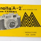 Minolta A-2 camera instruction manual with Rokkor f/2.8
