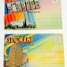 SEATTLE WASHINGTON AND SPOKANE - VINTAGE FOLD-OUT POSTCARD Lot of 2 Block Letter
