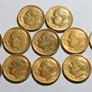 12 24K Gold plated DIMES 1966 1968 1970 1979 1980 1987 1988 Lot of dime US