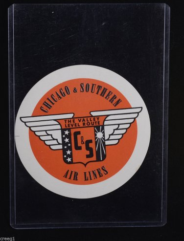 C & S CHICAGO AND SOUTHERN AIR LINES Unused Luggage BAGGAGE LABEL