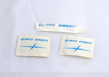 RARE Olympic Airways Salt Black Pepper Packets & Toothpick UNUSED Greece collect