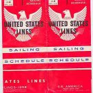 S.S. America / SS United States Sailing Schedule, September 1957 New York No. 6