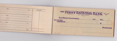 1940's San Diego California Unused Blank Vintage Check Book Checks