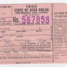 1969 Utah Deer Tag Hunting License Vintage Americana