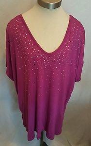 Womens Apt.9 Short Sleeve Embellished Knit Tee Fushia Size 3X  NWOT