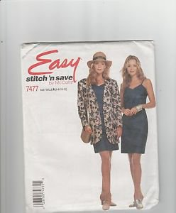 McCall's Easy Stitch n Save 7477 Unlined Jacket  Dress  Size A  6 8 10 12  uncut
