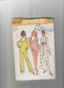 Simplicity 6047  Nightgown 2 lengths Panties Pajamas Size 12 Miss Cut pattern