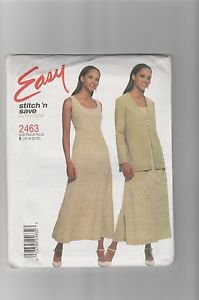McCall's 2463 Miss Dress Unlined Jacket Pattern Size B 16 18 20 22